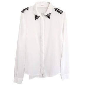 Annabelle•Sheer White Button ⬇️ w/ Studded Collar